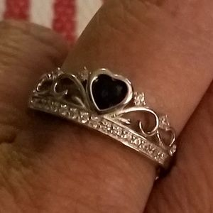Jewelry - Sterling Silver Heart Crown Blue Sapphire CZ Ring